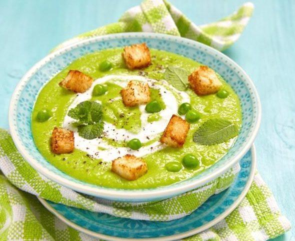 Crema soja verde con menta